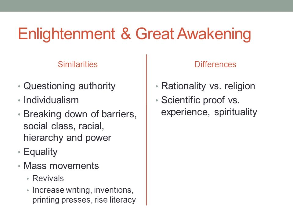 the great awakening enlightenment The great awakening and enlightenment in colonial america during the late  seventeenth and early eighteen centuries, colonial america saw major changes.