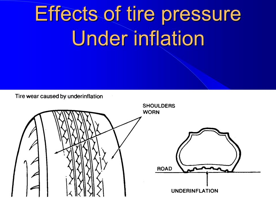 effects of tire pressure on tire If your low tire pressure warning light comes on while driving, it's best to pullover and do a visual inspection check for any signs of sagging or deformities in your tires' shape also look for an egg in your tire sidewallsa tire with a damaged sidewall can fail without warning at any speed above 25 mph.