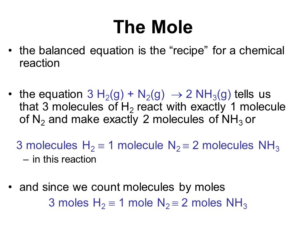 stoichiometry and the mole