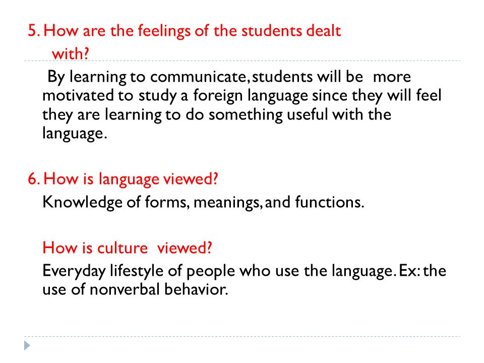 5. How are the feelings of the students dealt