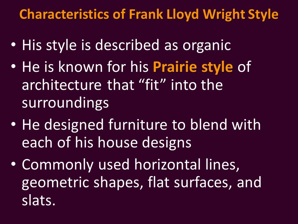 Mid century modern furniture styles ppt video online for Prairie style characteristics