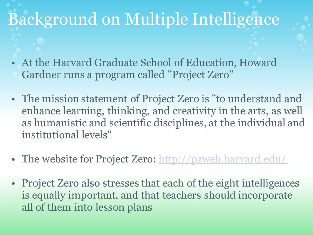 dissertations about multiple intelligences Multiple intelligence theory in the classroom this thesis - open access is multiple intelligence theory has faced obstacles implementing fully into the.