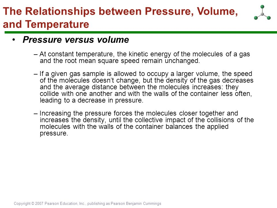 pressure temperature relationship molecular velocity and