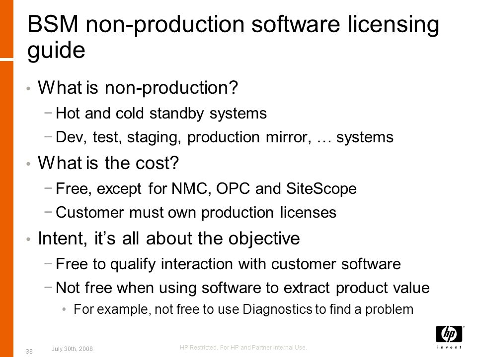 BSM non-production software licensing guide