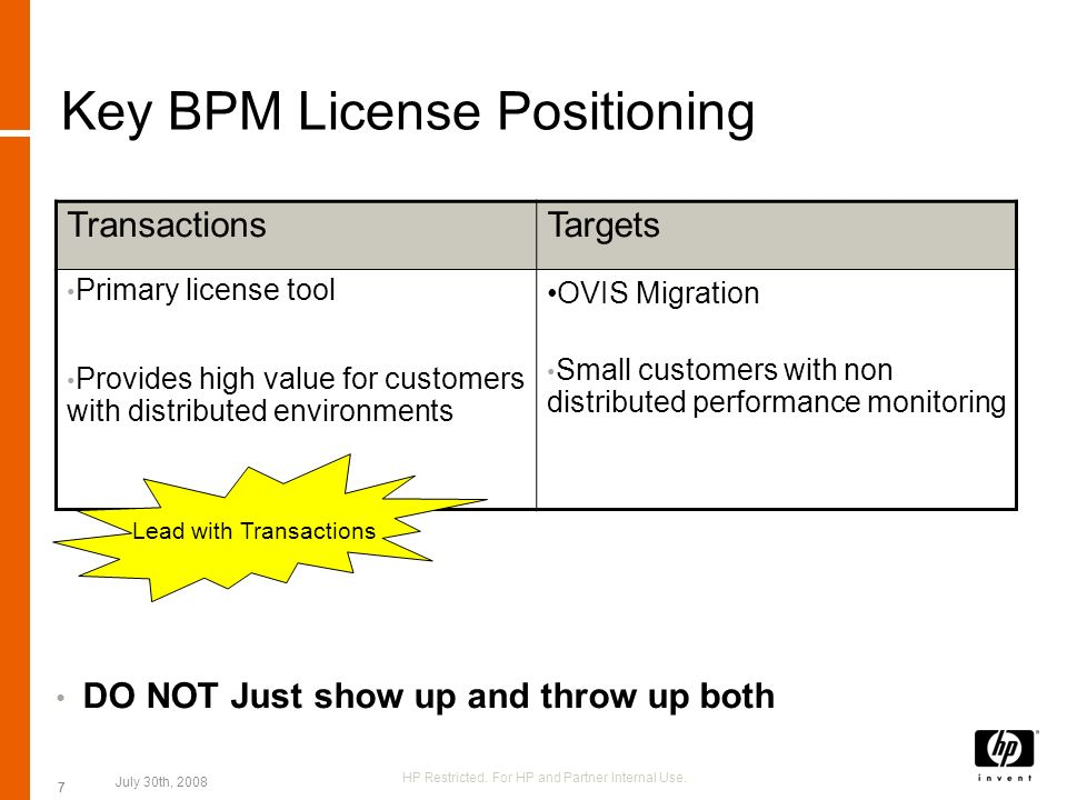 Key BPM License Positioning