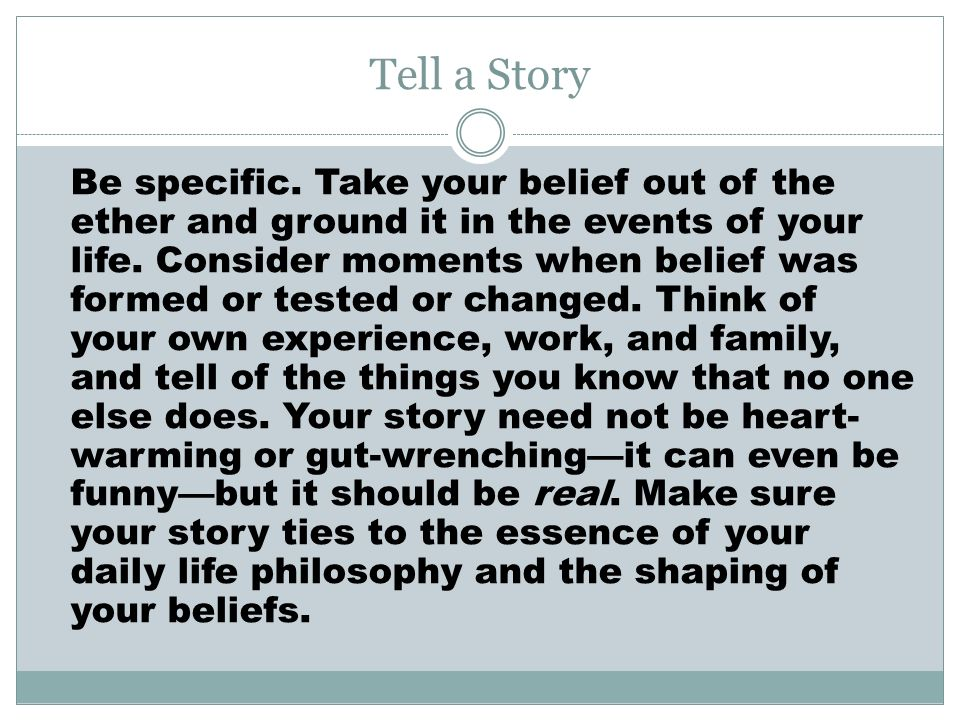 narrative essay on belief