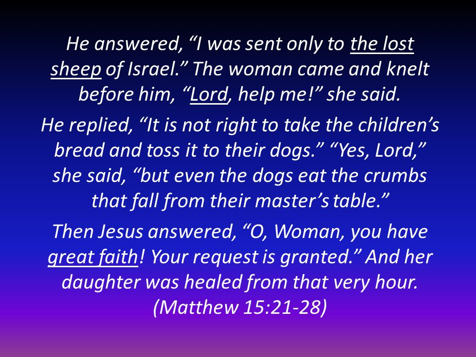 He answered, I was sent only to the lost sheep of Israel