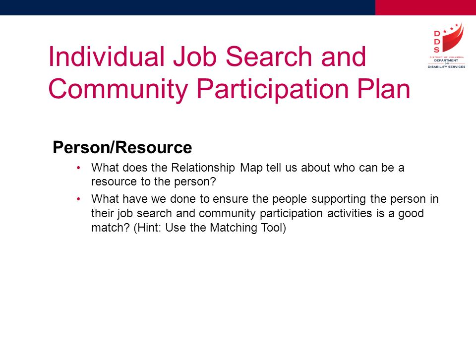Individual Job Search And Community Parion Plan
