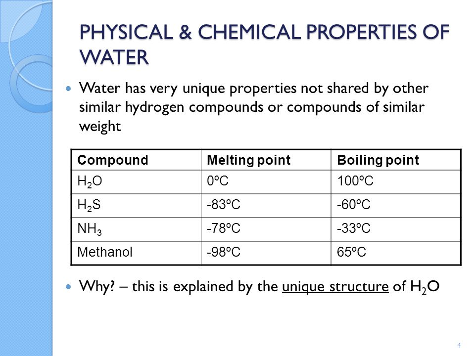 the physical properties of water during hydrogen bonding physical properties and hydrogen bonding network of