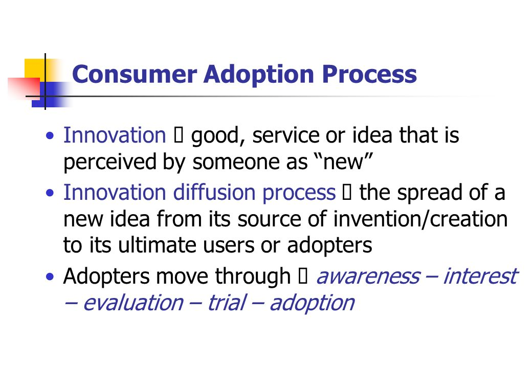 the process of adoption Diffusion of innovations is a theory that seeks to explain how an individual might reject an innovation at any time during or after the adoption process.