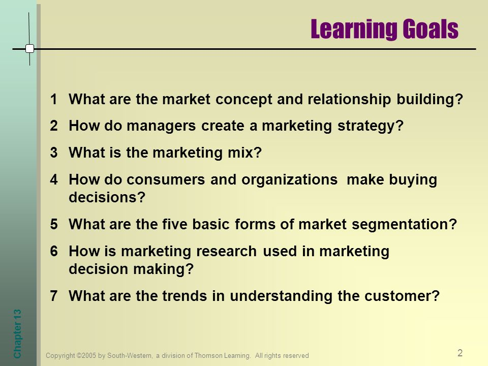 Learning Goals What are the market concept and relationship building