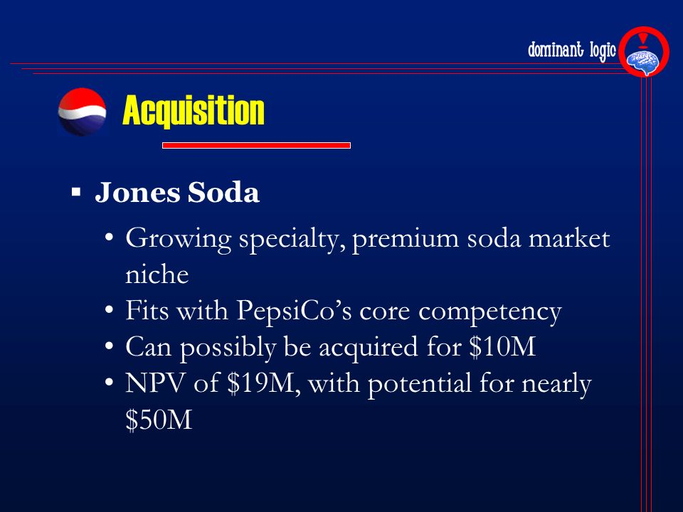 analysis of the core competences of pepsico Despite the massive advertising budgets of brand leaders coke and pepsi, their   core competence = capabilities that are fundamental to a firm's strategy and .