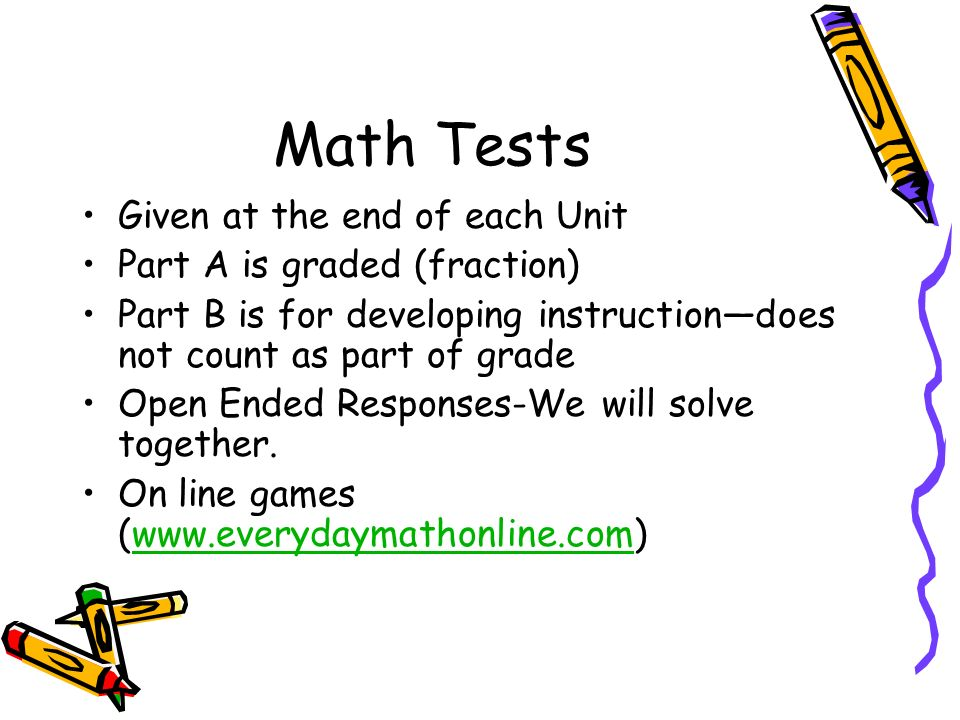 Math Tests Given at the end of each Unit Part A is graded (fraction)