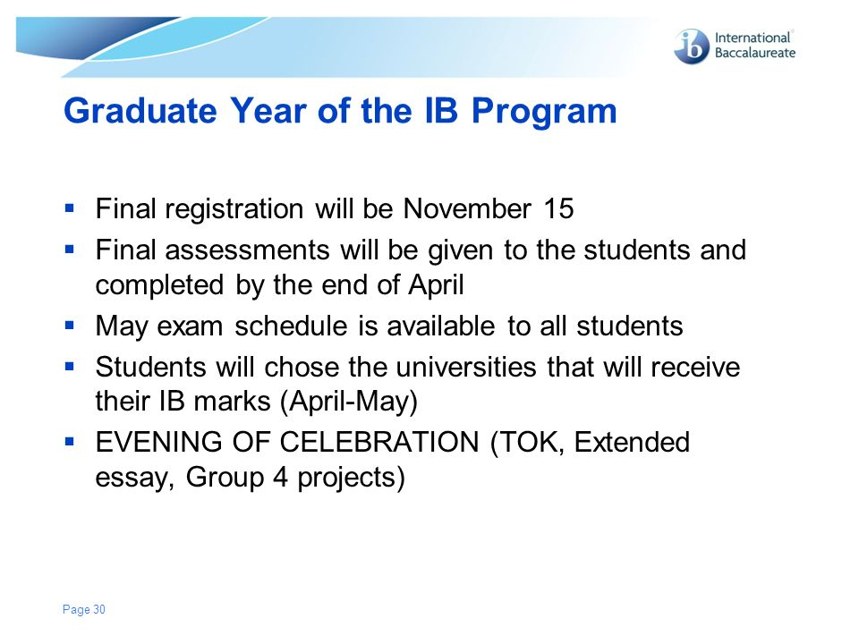 ib program application essay Information for incoming 8th graders class of 2022 general information faq's registration instructions registration form application procedure complete and submit the online application by 11:59pm, january 10th, 2018 for the january 13th test and 11:59pm what is the 'ib' diploma program.