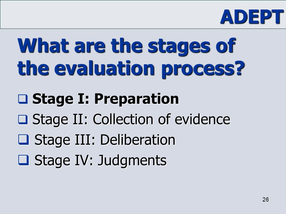What are the stages of the evaluation process