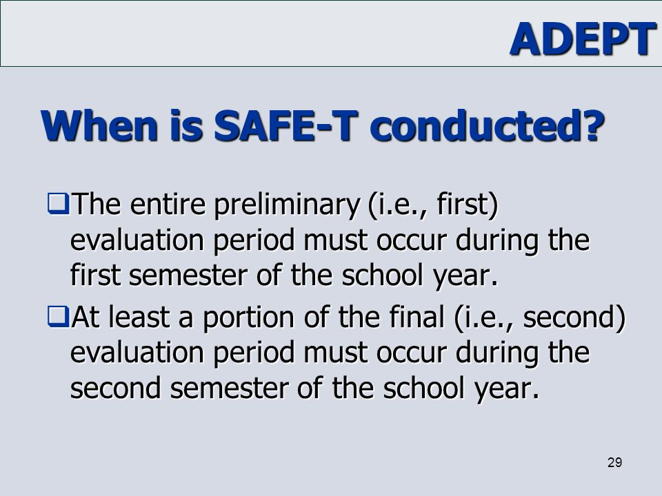 When is SAFE-T conducted