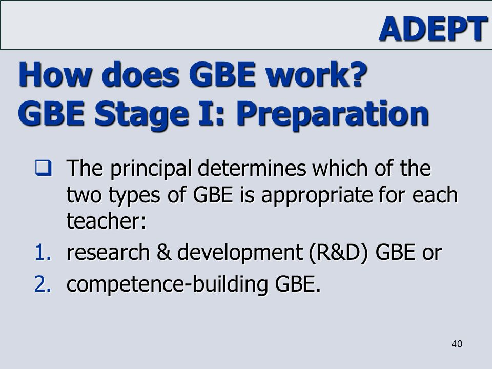 How does GBE work GBE Stage I: Preparation