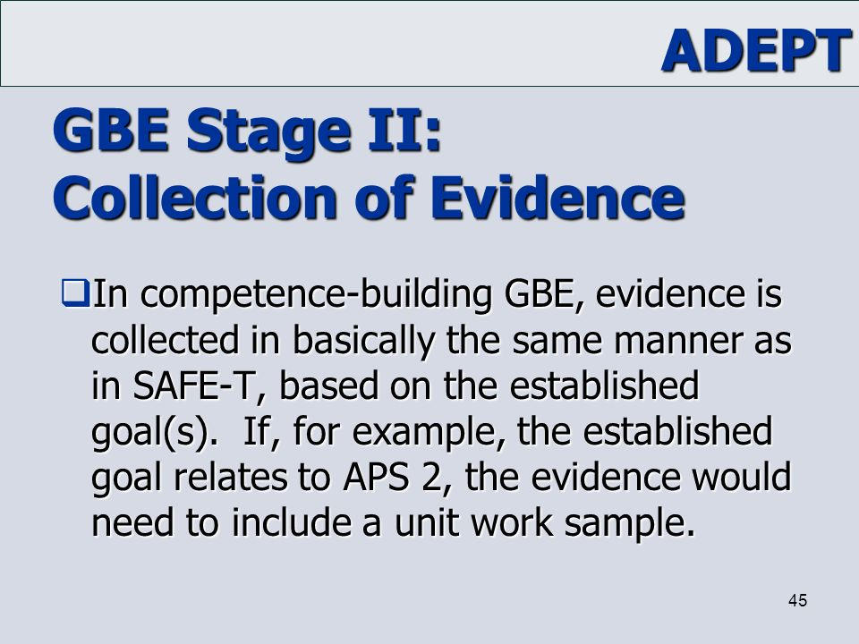 GBE Stage II: Collection of Evidence
