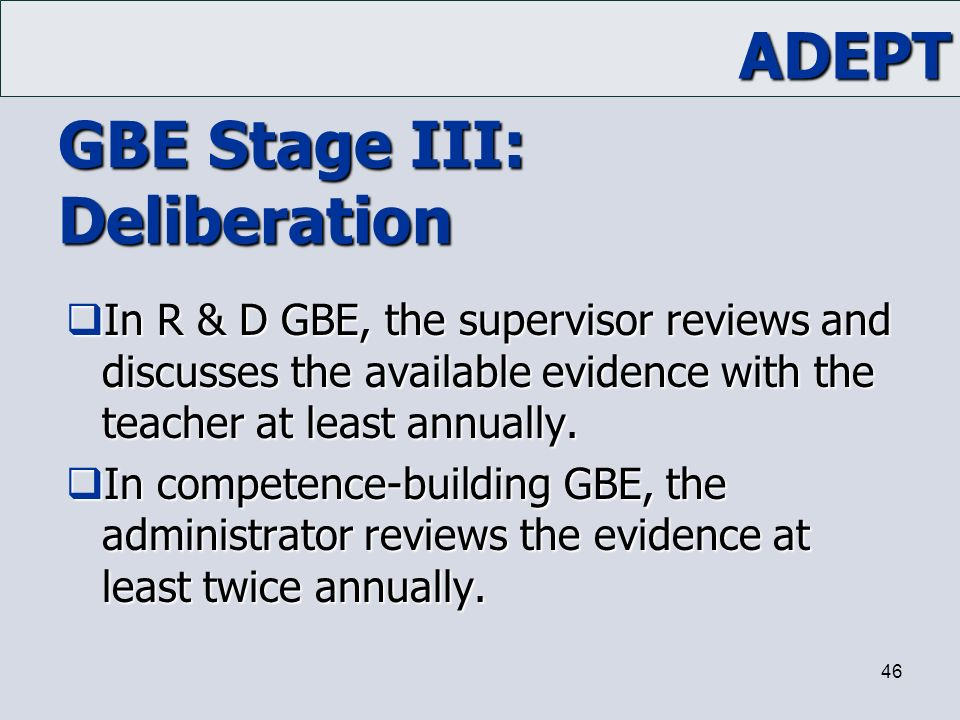 GBE Stage III: Deliberation