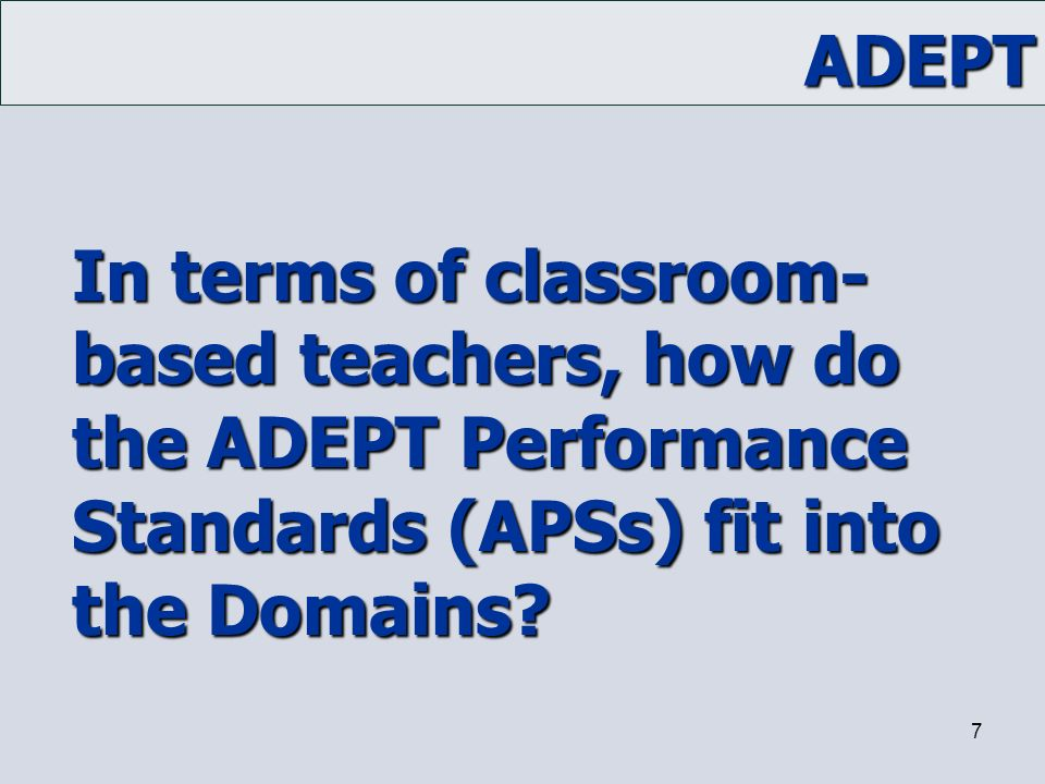 In terms of classroom-based teachers, how do the ADEPT Performance Standards (APSs) fit into the Domains