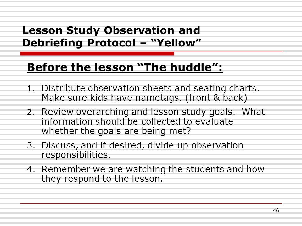 Montana Content Standards: 6. Debrief of the Lesson Study ...