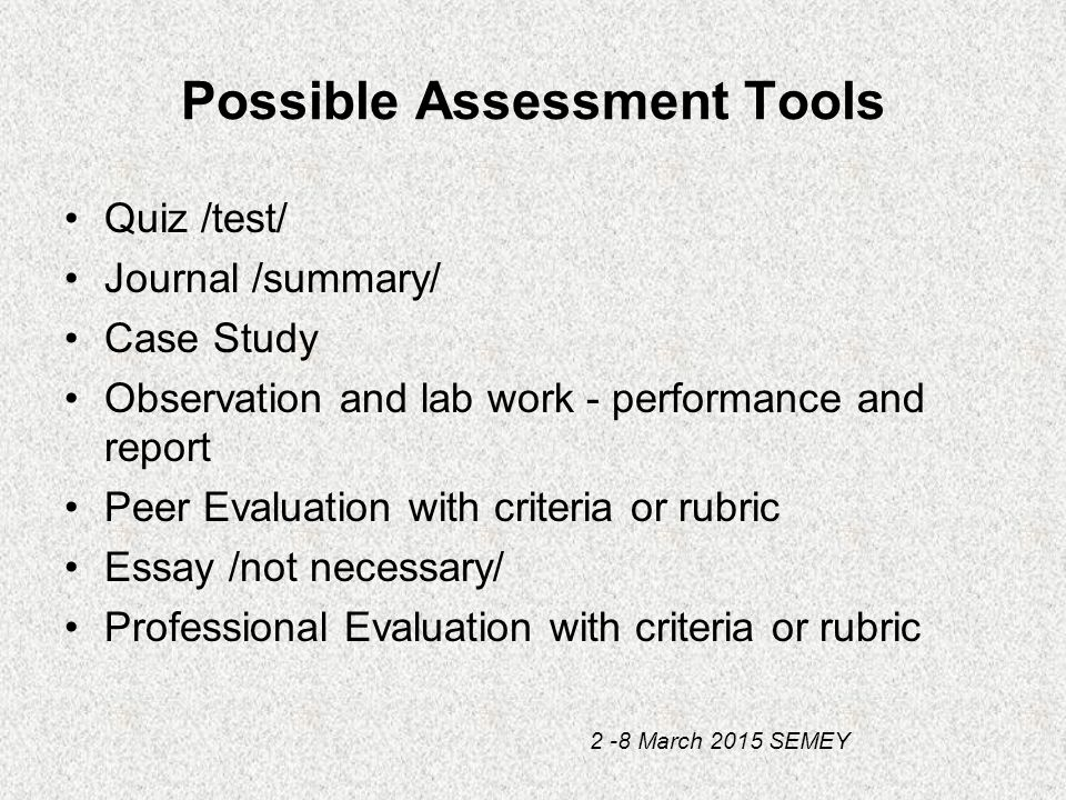 learning outcomeassessment criteria essay Evaluating student learning assessment of outcomes specifying criteria on a rubric • essays can measure outcomes linked to critical thinking and.