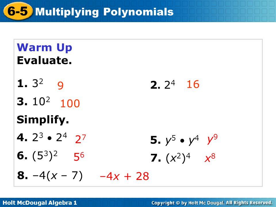 6-1 Integer Exponents Warm Up Lesson Presentation Lesson ...