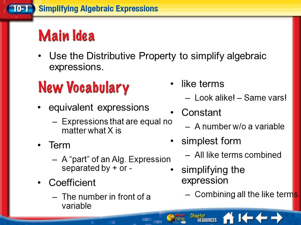 Equivalent Expressions: Distributive Property