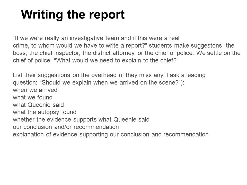 how to write a report on a crime scene