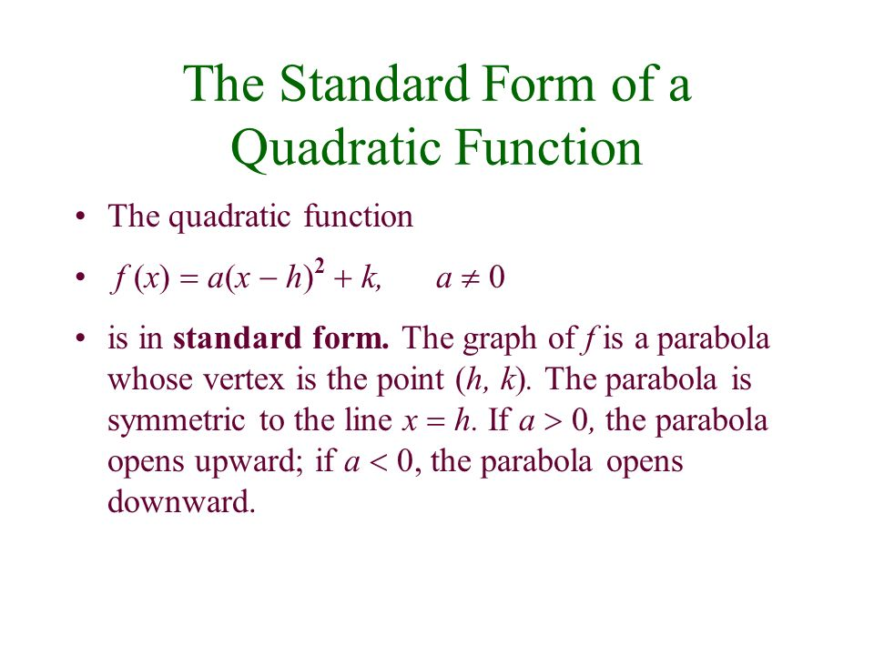 Complex Numbers. - ppt download Quadratic Function In Standard Form