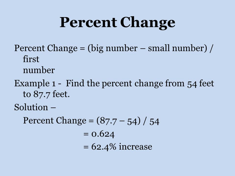 how to find percentage change in a series of numbers