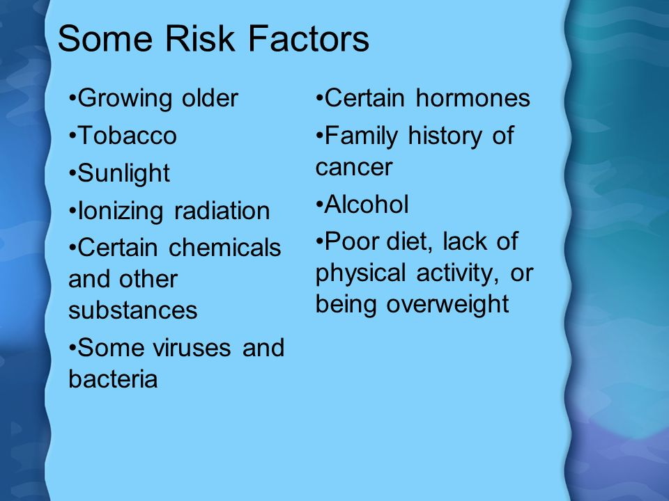 Some Risk Factors Growing older Tobacco Sunlight Ionizing radiation