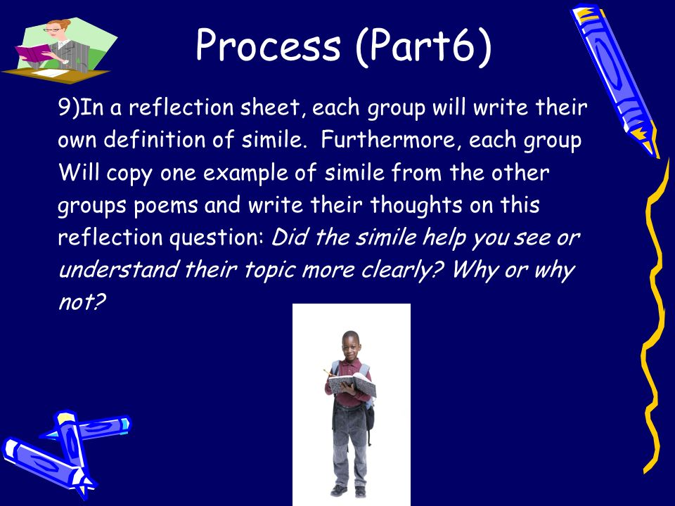 Process (Part6) 9)In a reflection sheet, each group will write their