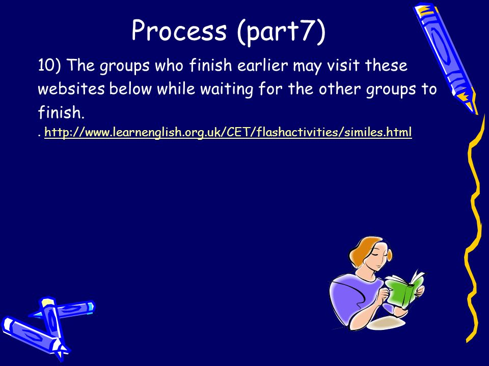 Process (part7) 10) The groups who finish earlier may visit these