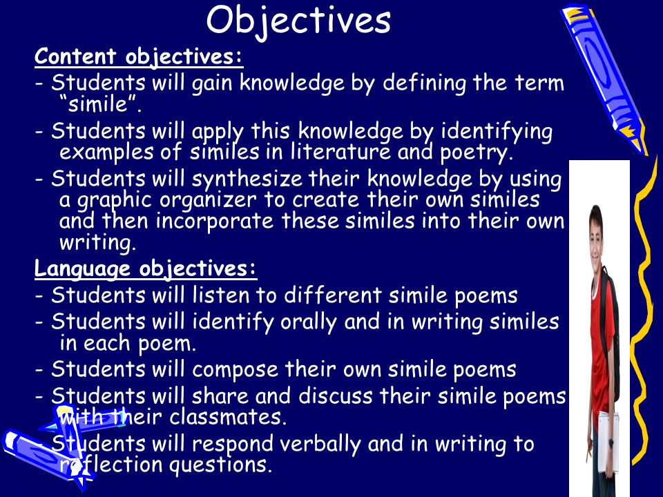 Objectives Content objectives: