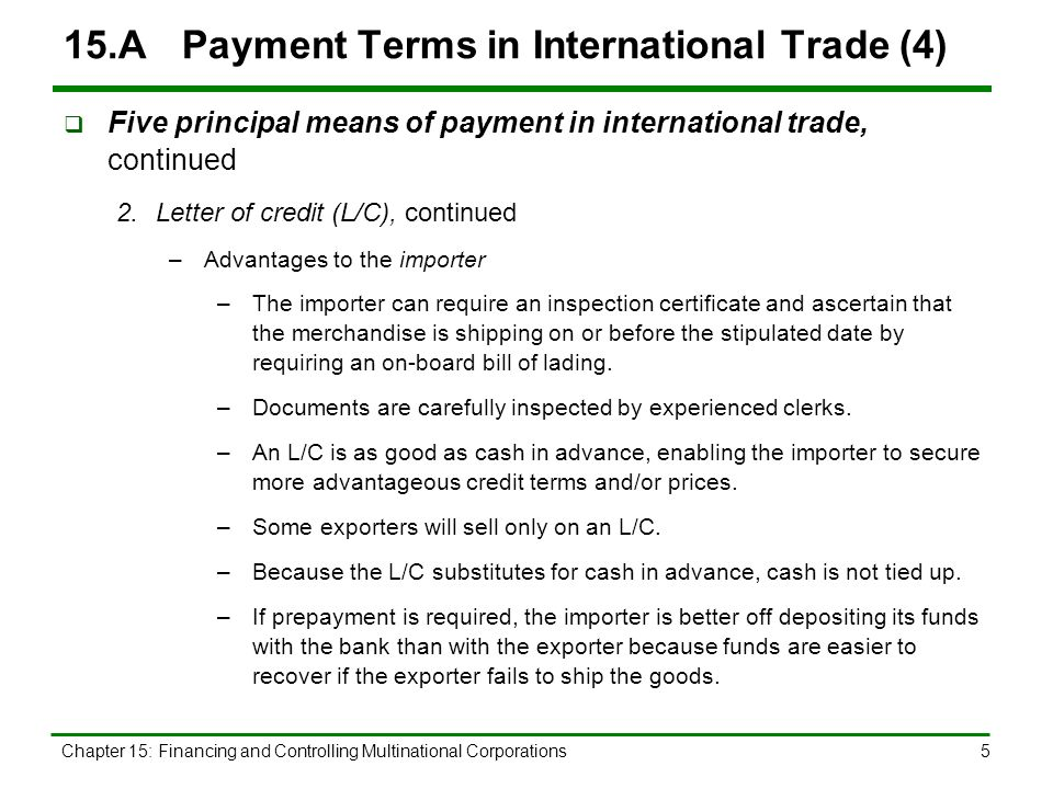Chapter 15 outline payment terms in international trade ppt download a payment terms in international trade 5 spiritdancerdesigns Image collections