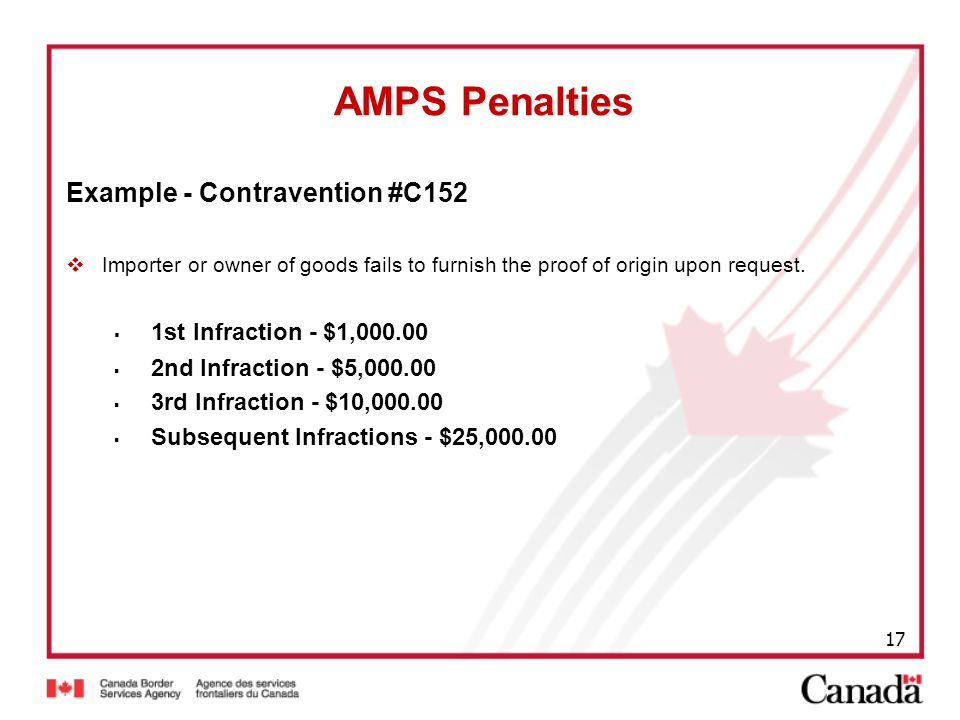 AMPS Penalties Example - Contravention #C152
