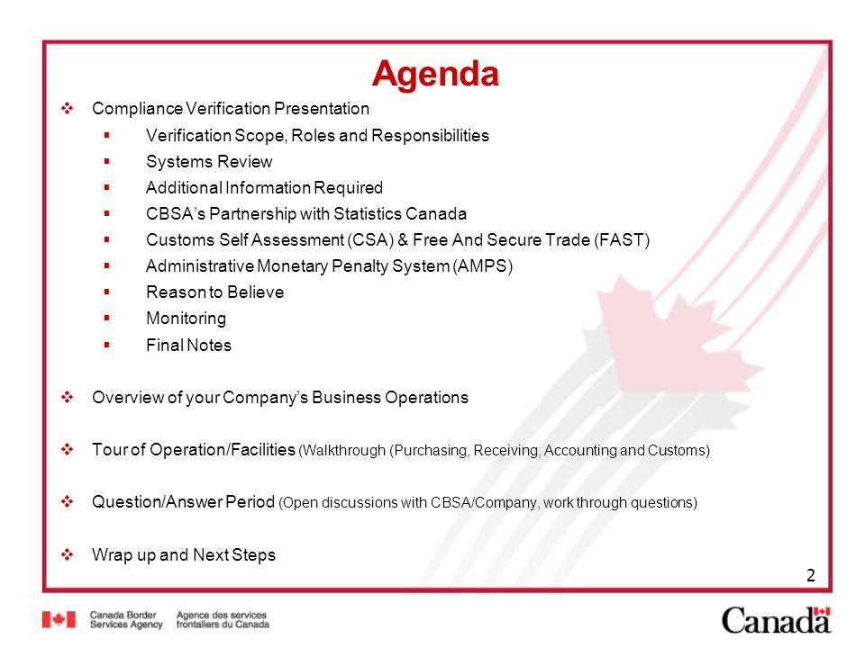 Agenda Compliance Verification Presentation