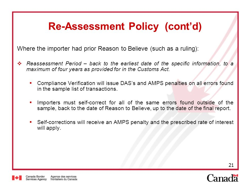 Re-Assessment Policy (cont'd)