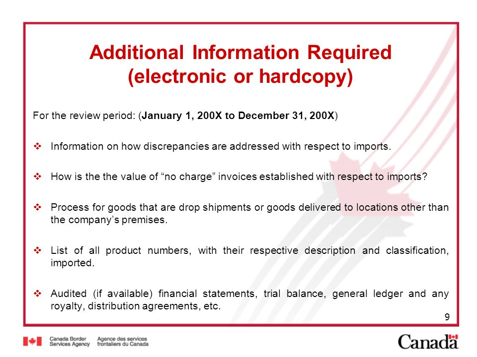 Additional Information Required (electronic or hardcopy)