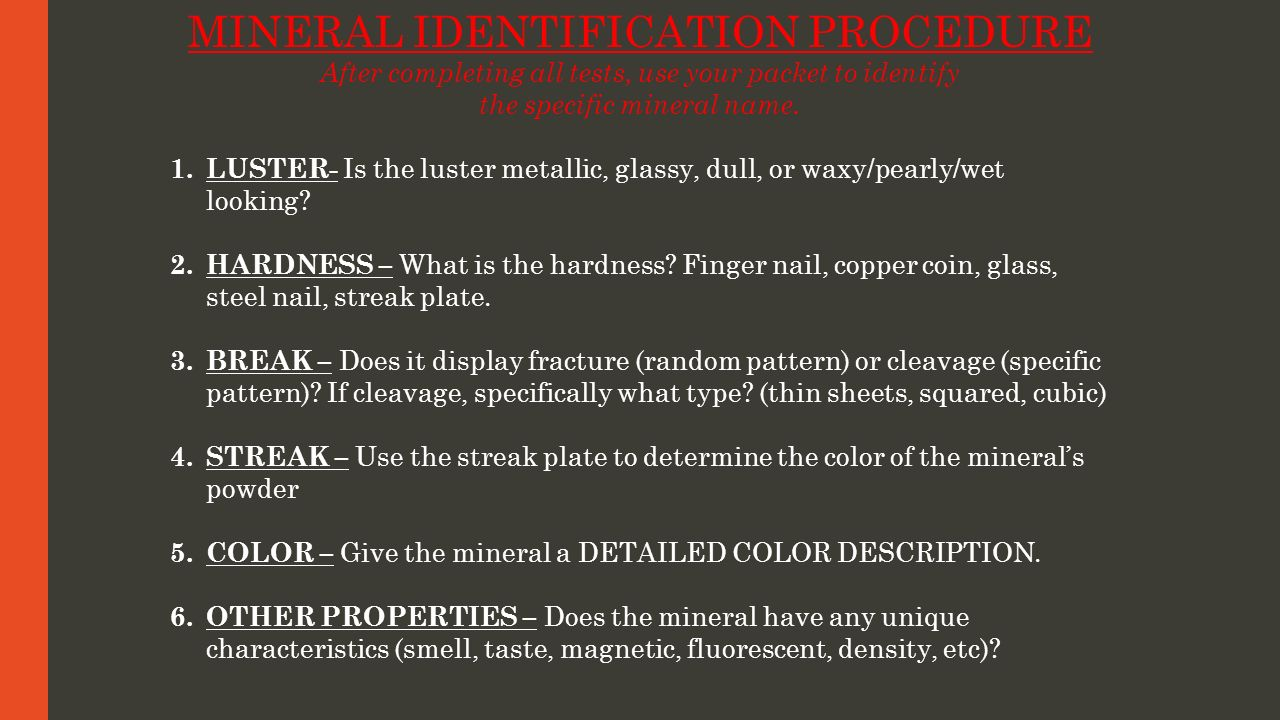 MINERAL IDENTIFICATION PROCEDURE