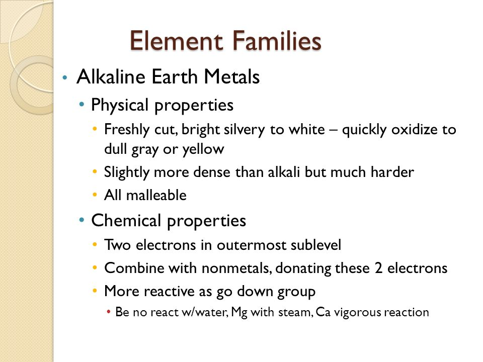 1 periodic table ae study of elements and the compounds they element families alkaline earth metals physical properties urtaz Images