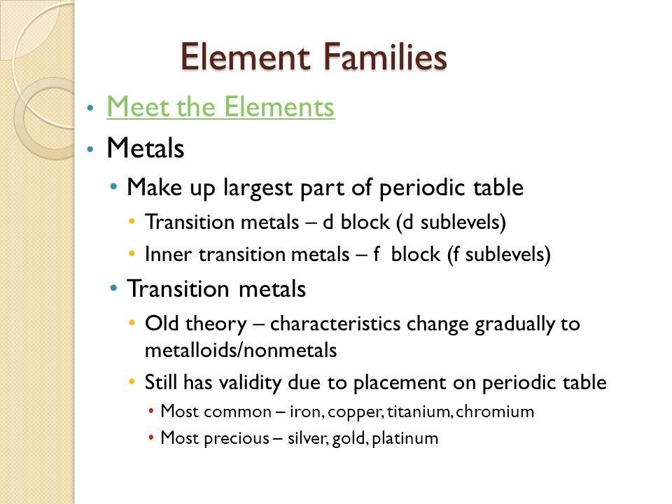 1 periodic table ae study of elements and the compounds they element families meet the elements metals urtaz Choice Image