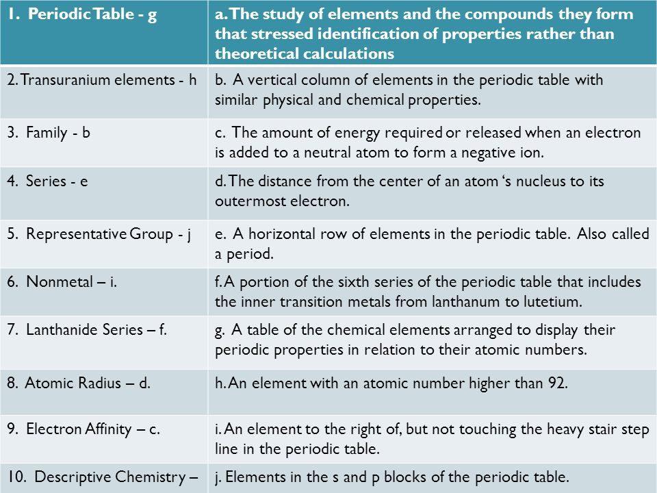 Periodic Table 10 common elements periodic table : 1. Periodic Table a.The study of elements and the compounds they ...