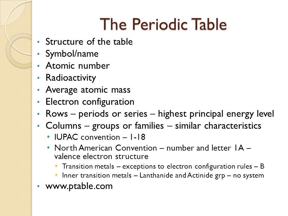 1 periodic table ae study of elements and the compounds they the periodic table structure of the table symbolname atomic number urtaz Images