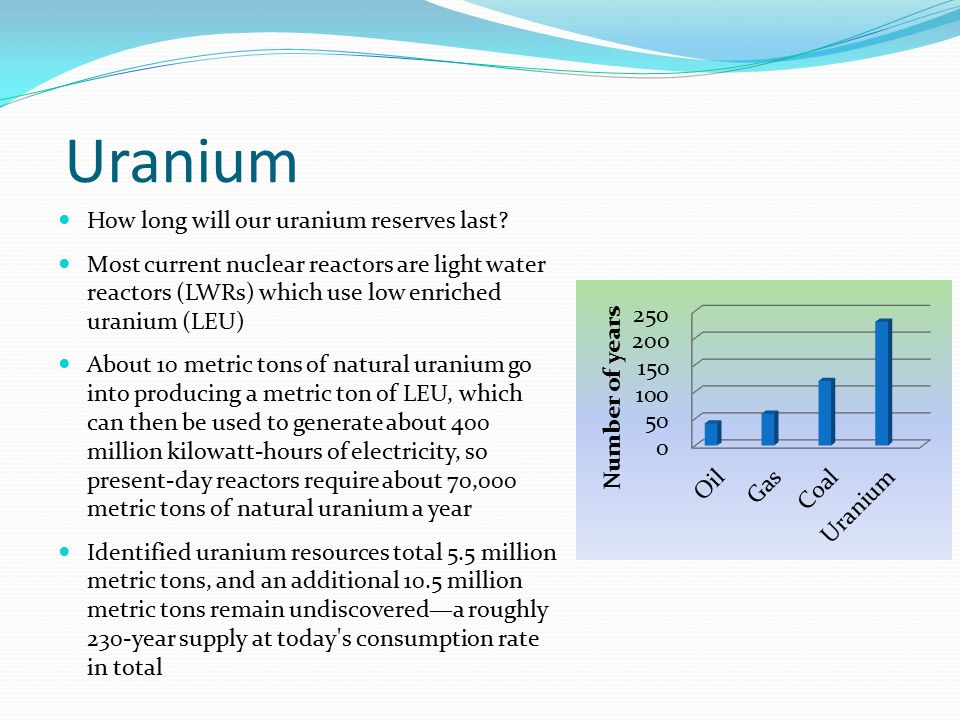 Uranium How long will our uranium reserves last