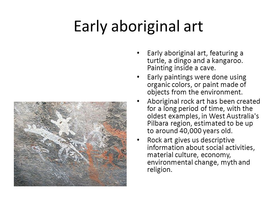 Early aboriginal art Early aboriginal art, featuring a turtle, a dingo and a kangaroo. Painting inside a cave.