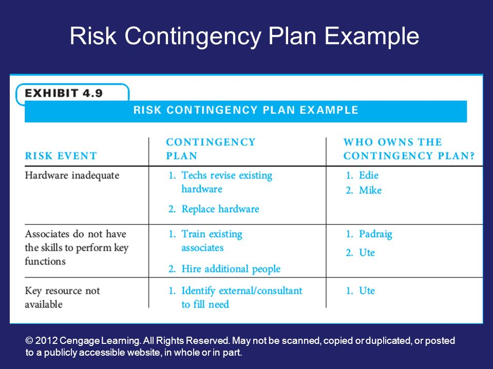 Risk Contingency Plan Example  Examples Of Contingency Plans
