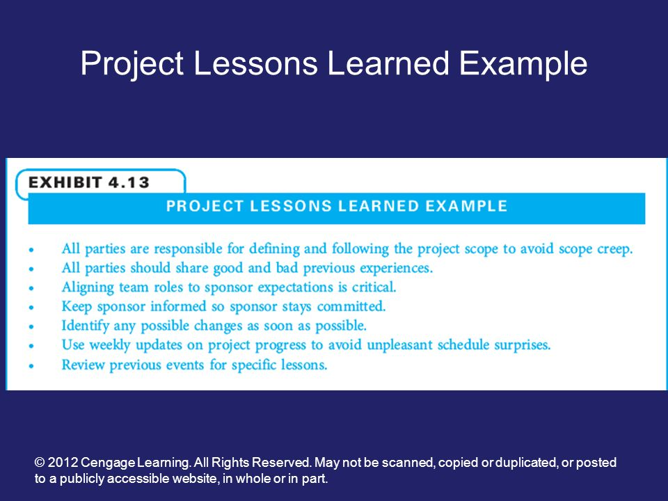 "lessons learnt in project management Lessons learned – the effective project management ""if you write anything criticizing editing or proofreading, there will be a fault of some kind in what you have written"" – murphy's law e."