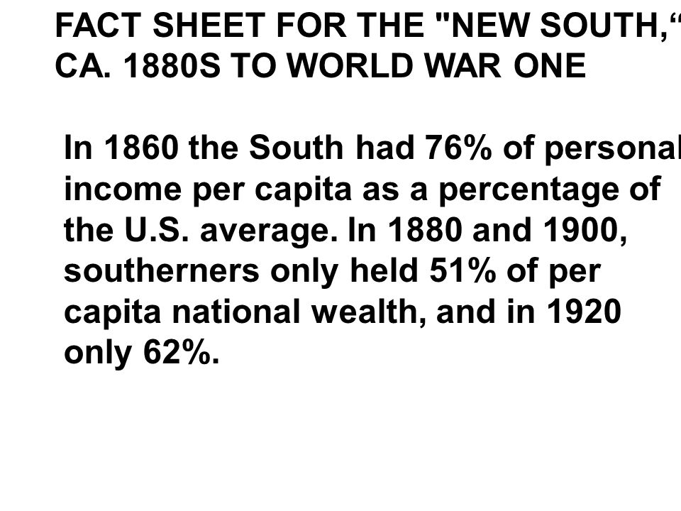 FACT SHEET FOR THE NEW SOUTH,
